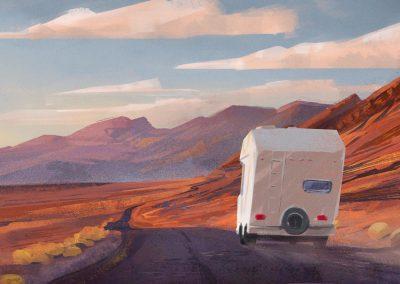 American mountains with camper digital sketch by Jakub Cichecki
