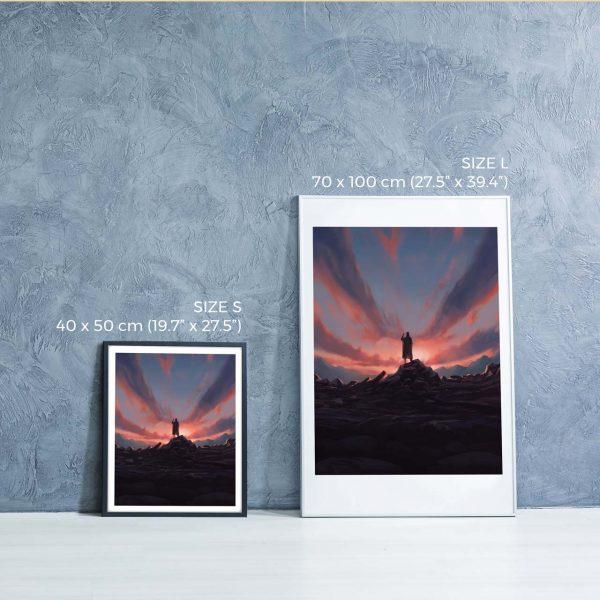 Photo of two framed illustration prints - biblical book of Tobit by Jakub Cichecki