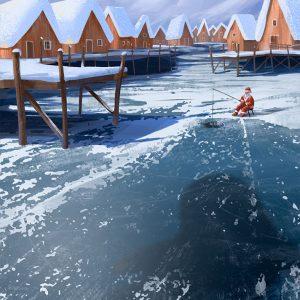 Big fish winter illustration by Jakub Cichecki