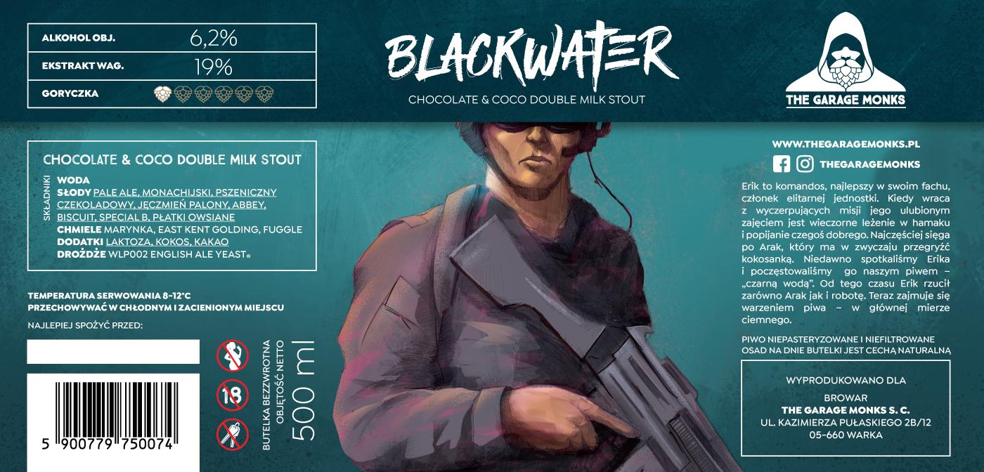 Blackwater – beer label design illustration for The Garage Monks brewery by Jakub Cichecki