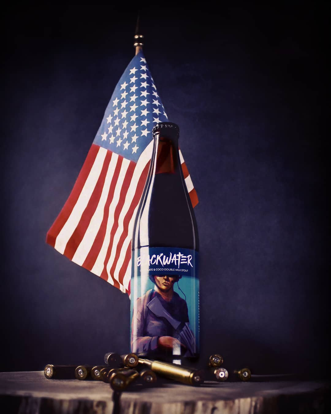 Blackwater - beer bottle photo in american style with flag and bullets by Kraftowe and Jakub Cichecki