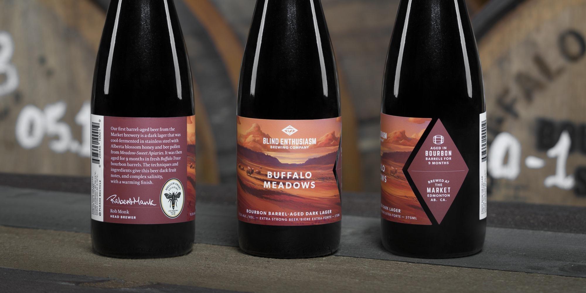 """Buffalo Meadows"" beer bottles with warm coloured landscape illustration by Jakub Cichecki"