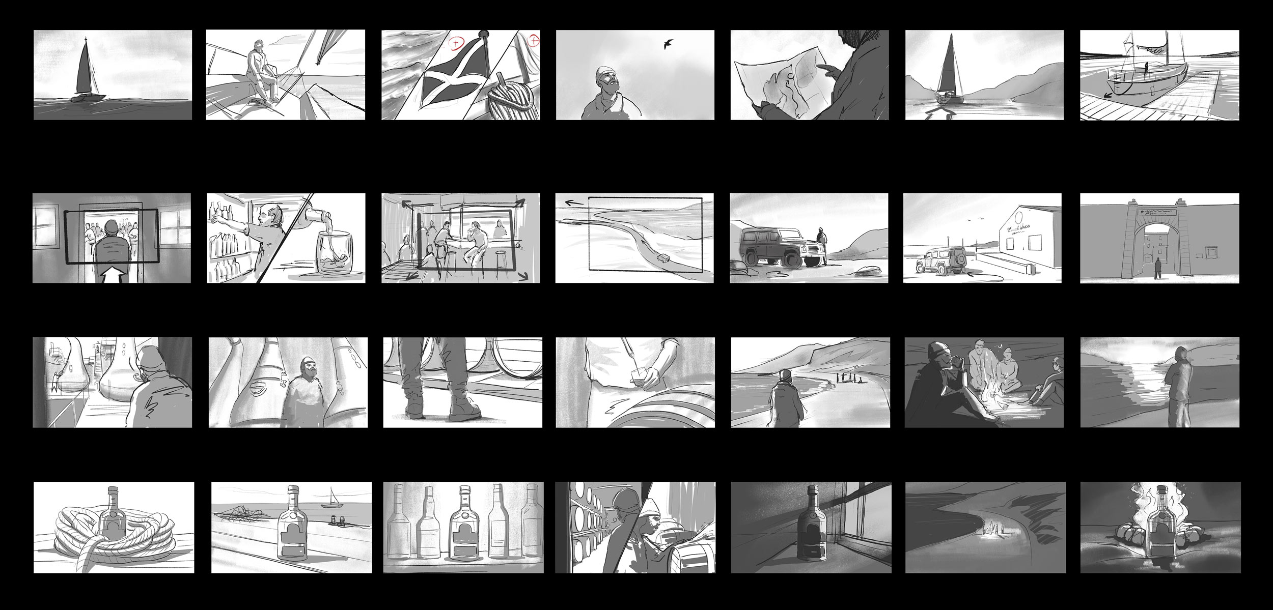 Bunnahabhain whiskey advertisment full storyboard for Campfire agency by Jakub Cichecki