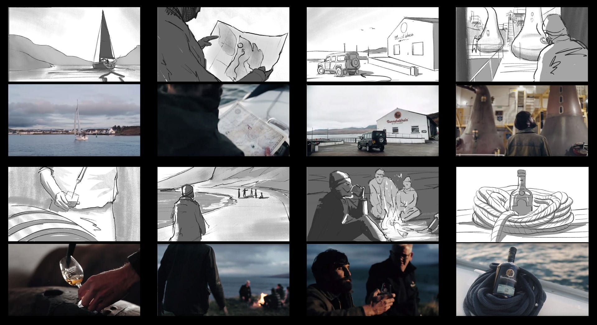 Bunnahabhain whiskey advertisment storyboard comparision for Campfire agency by Jakub Cichecki
