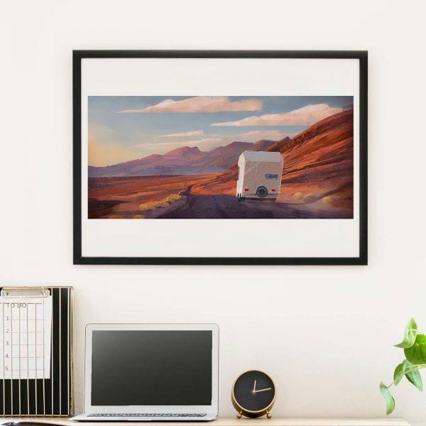 Camper in US mountains - photo of framed illustration print by Jakub Cichecki