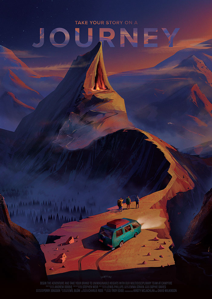 Illustration about journey, promotional art for advertising agency Campfire by Jakub Cichecki