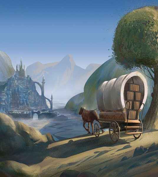 Caravan approaching city fantasy illustration for Dungeon Forge board game by Jakub Cichecki