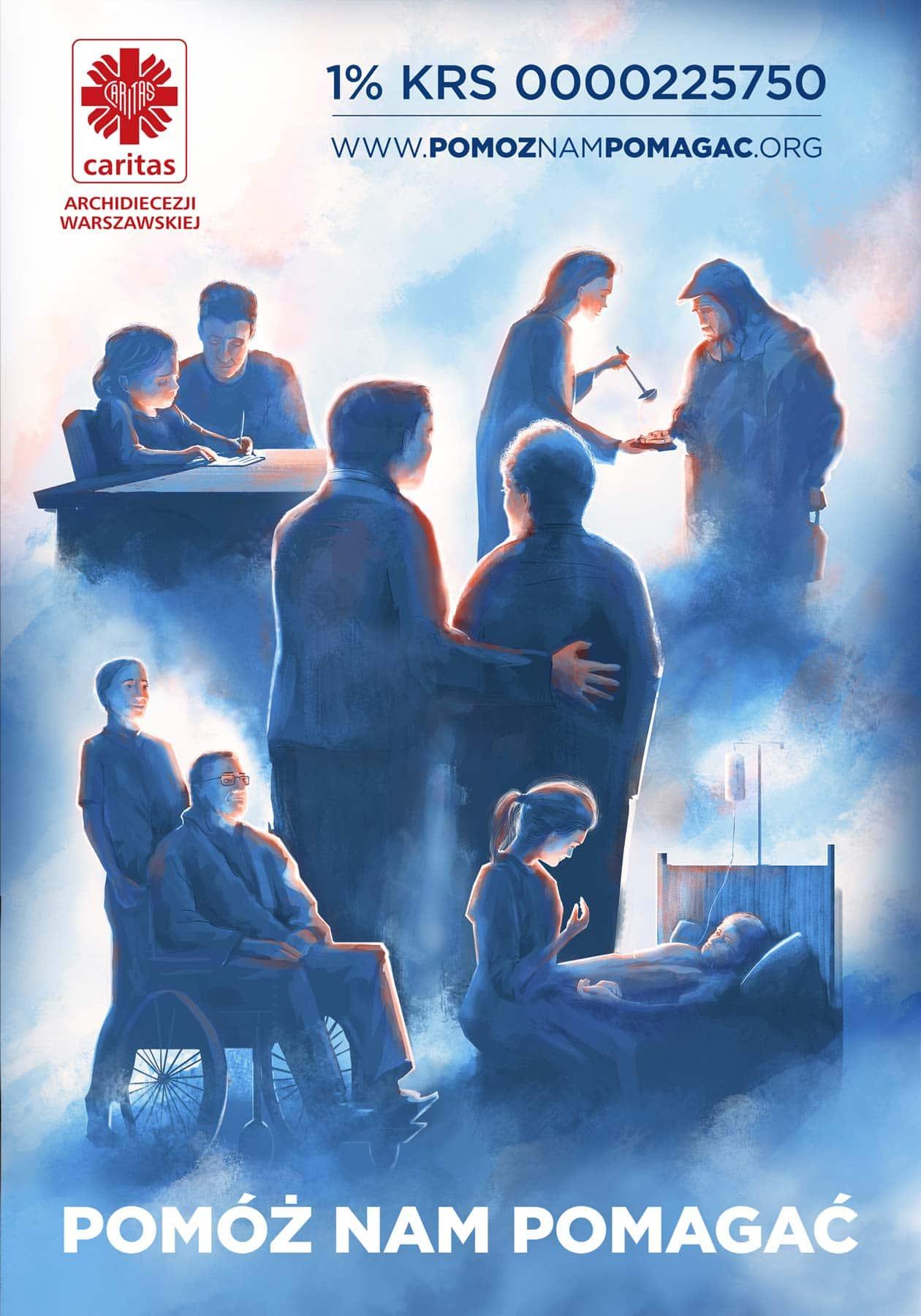 Help us to help - Caritas people in need of help poster illustration by Jakub Cichecki