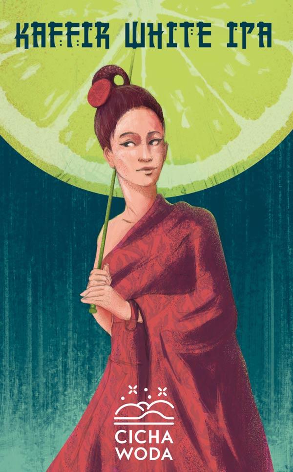 Kaffir White IPA beer label illustration with asian dressed girl with umbrela by Jakub Cichecki