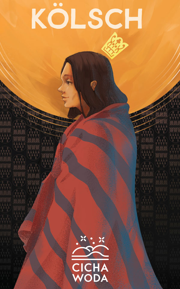 """Kolsch beer label with girl in blanket and """"Cicha Woda"""" home brewery logo by Jakub Cichecki"""