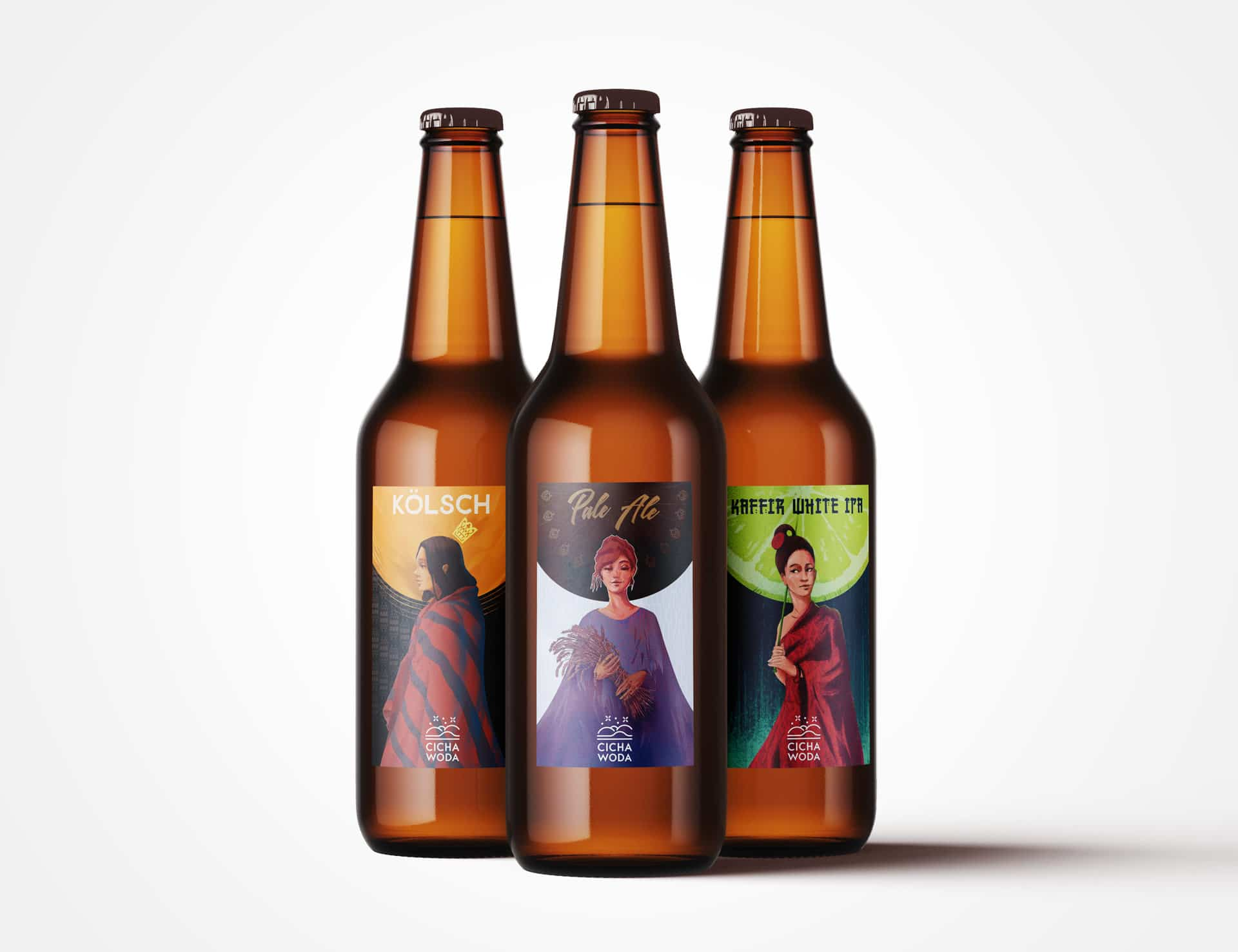 """Beer bottles with girl-themed illustrated labels for home brewery """"Cicha Woda"""" by Jakub Cichecki"""