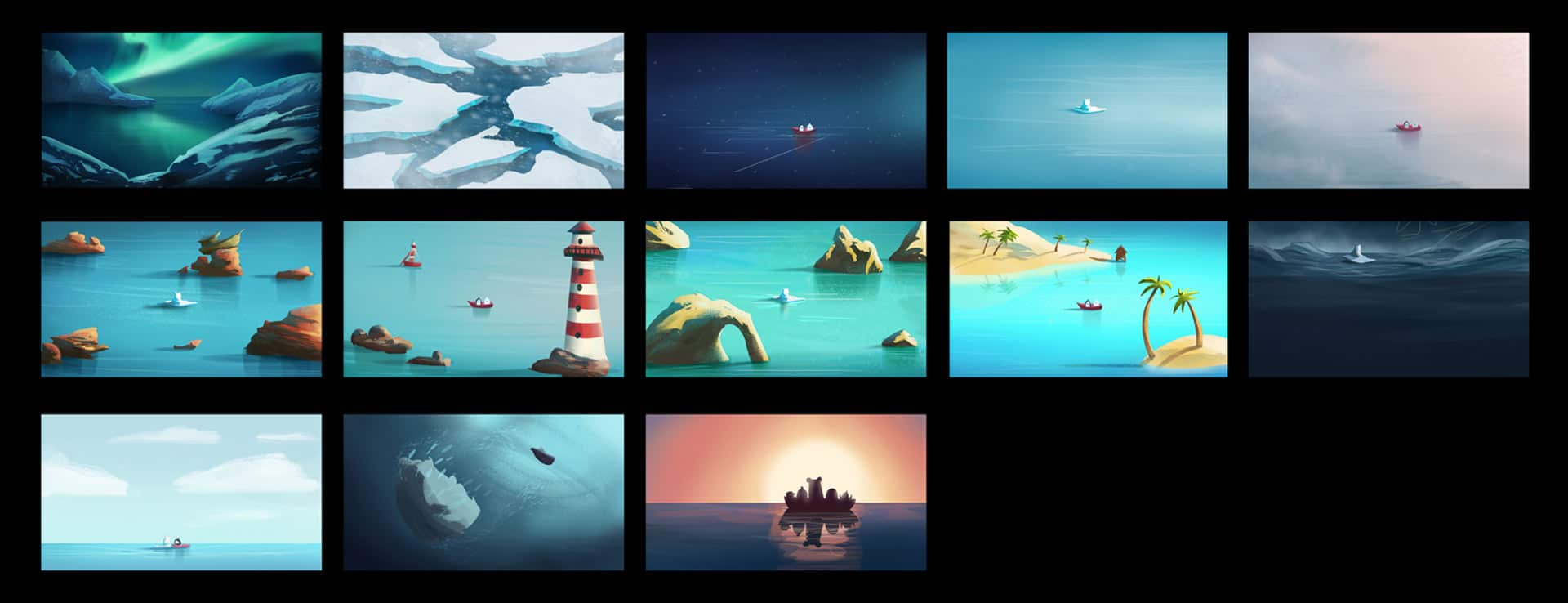 Color script for animated advertisment telling story about bear and penguin being tear apart for Pigeon Studio by Jakub Cichecki