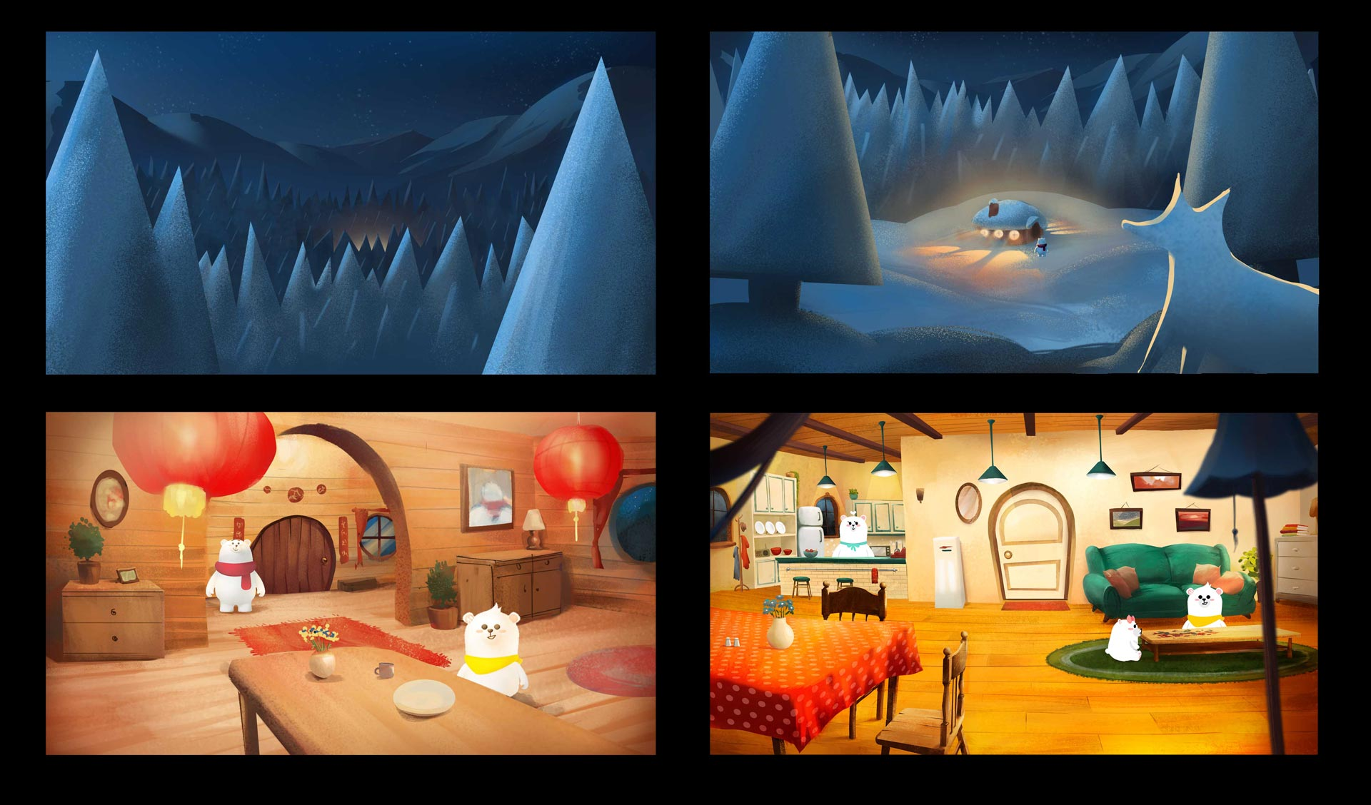 Color script winter and calm interior with cute bears for Pigeon Studio by Jakub Cichecki