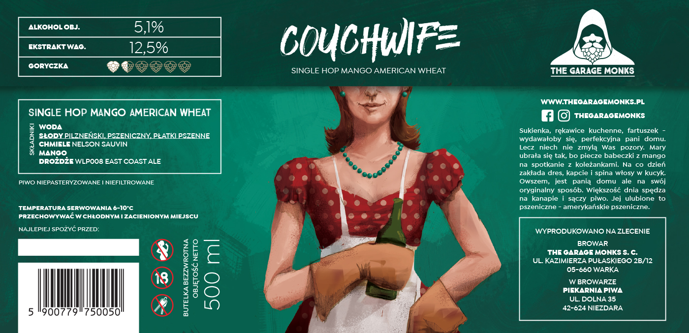 Couchwife – beer label design illustration for The Garage Monks brewery by Jakub Cichecki