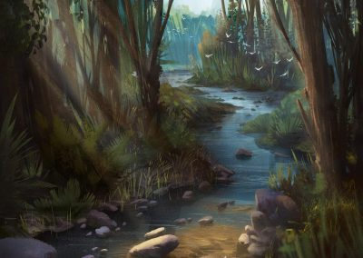Creek in the Forest illustration for Lost nad Sound by Jakub Cichecki