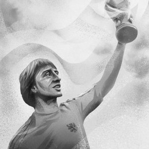 Cruyff holding world cup editorial illustration by Jakub Cichecki