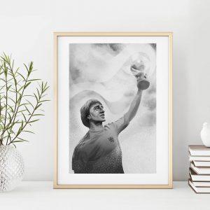 Cruyff holding world cup small illustration print in frame by Jakub Cichecki
