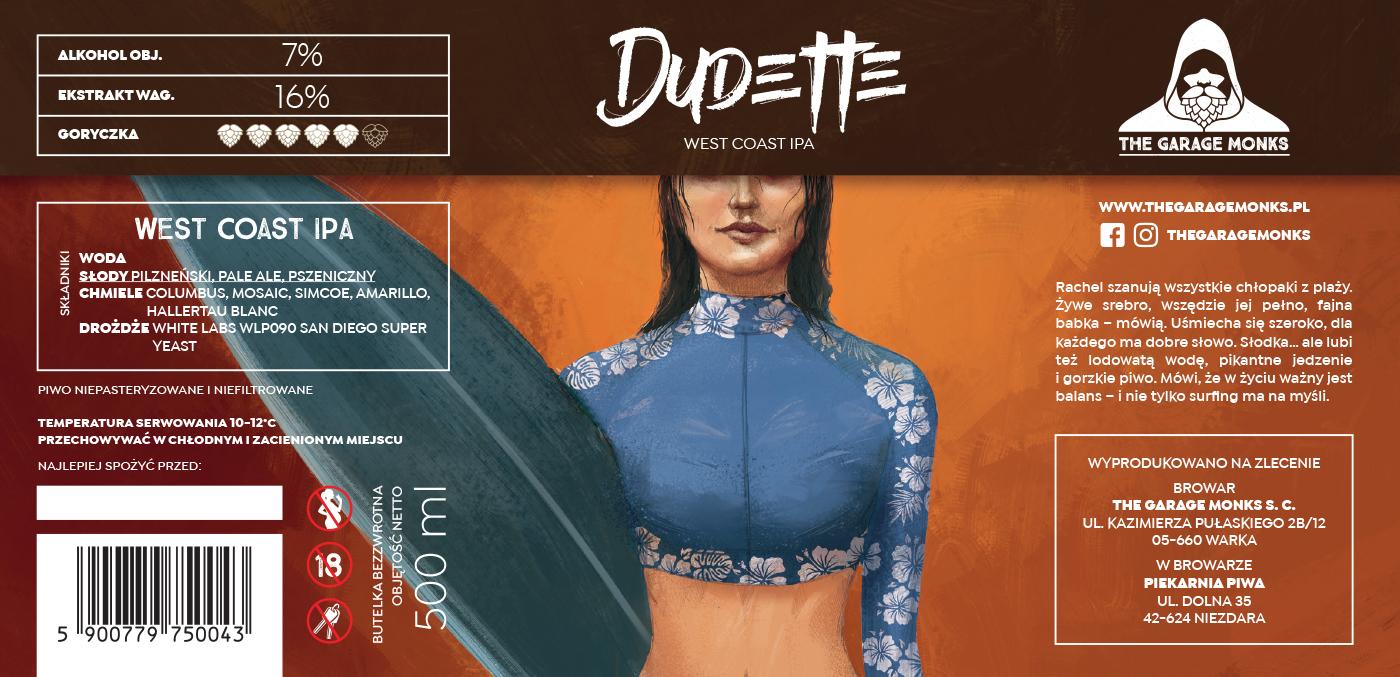 Dudette – beer label design illustration for The Garage Monks brewery by Jakub Cichecki