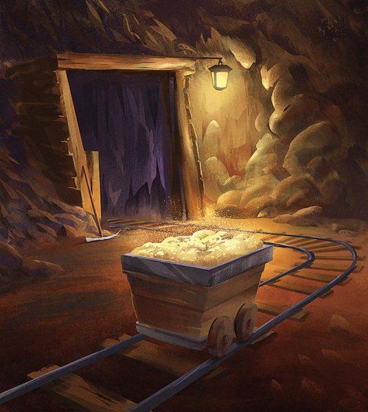 Gold mine - Dungeon Forge board game illustration by Jakub Cichecki