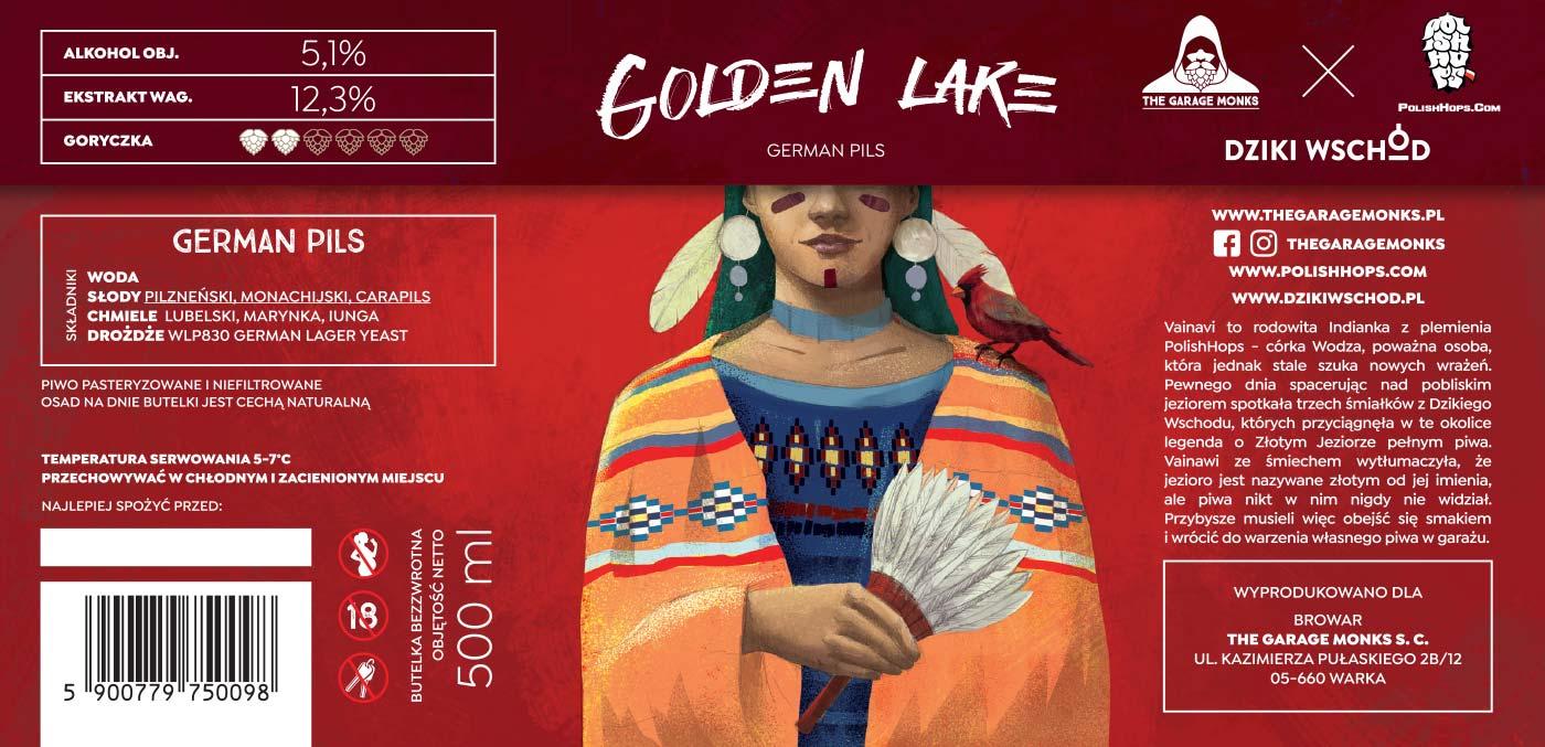 Golden Lake - beer label design illustration for The Garage Monks and Dzieki Wschod breweries by Jakub Cichecki