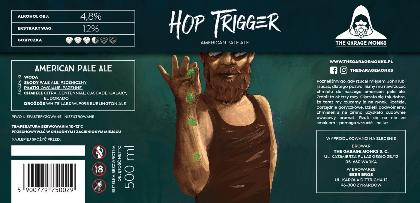 Hop Trigger – beer label design illustration for The Garage Monks brewery by Jakub Cichecki
