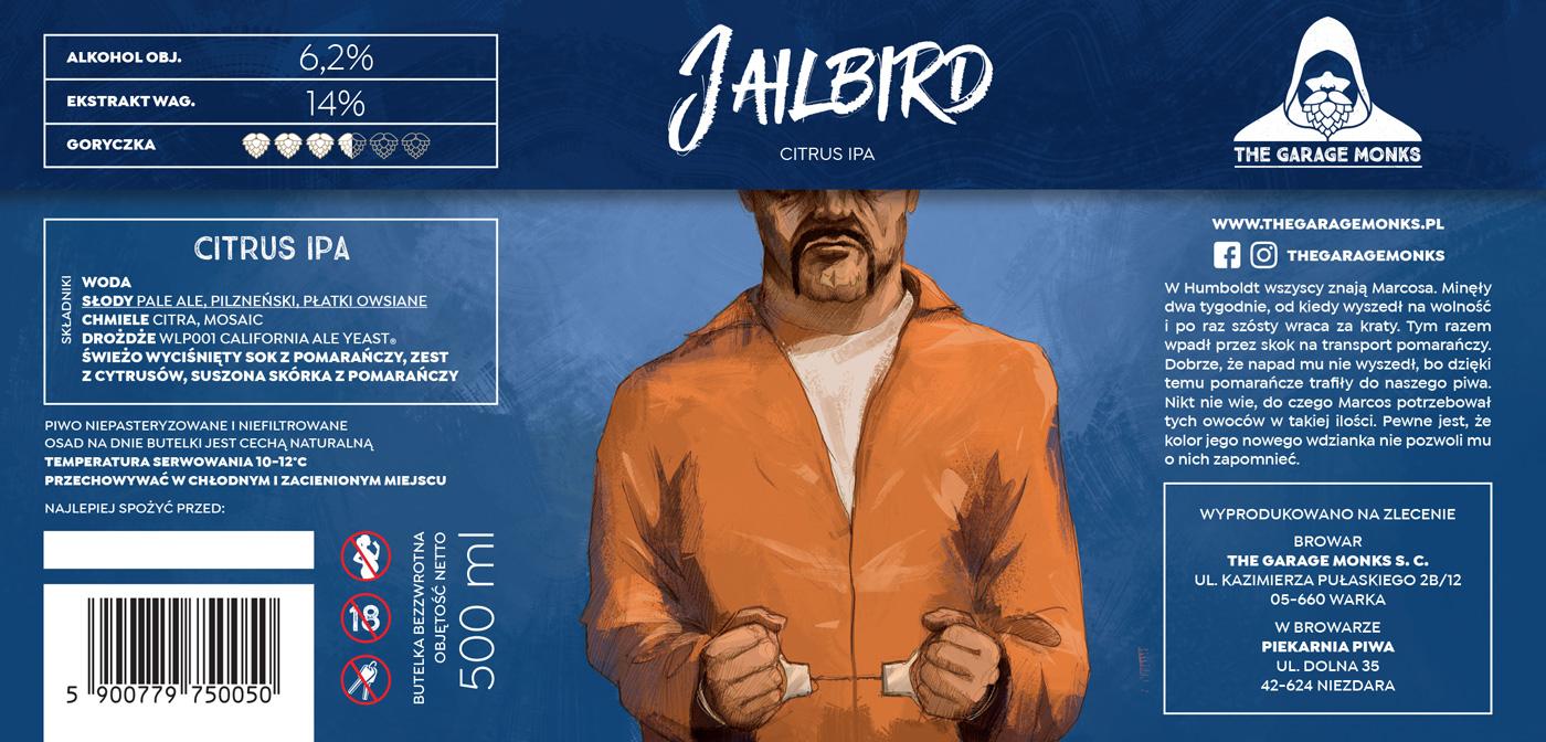 Jailbird – beer label design illustration for The Garage Monks brewery by Jakub Cichecki