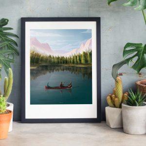 Lake landscape Photo of framed illustration print for biblical book of Tobit by Jakub Cichecki
