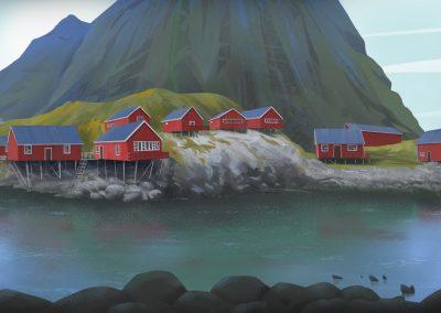 Lofoten lake at A town landscape illustration by Jakub Cichecki