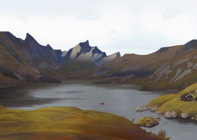 Lofoten lake landscape illustration by Jakub Cichecki