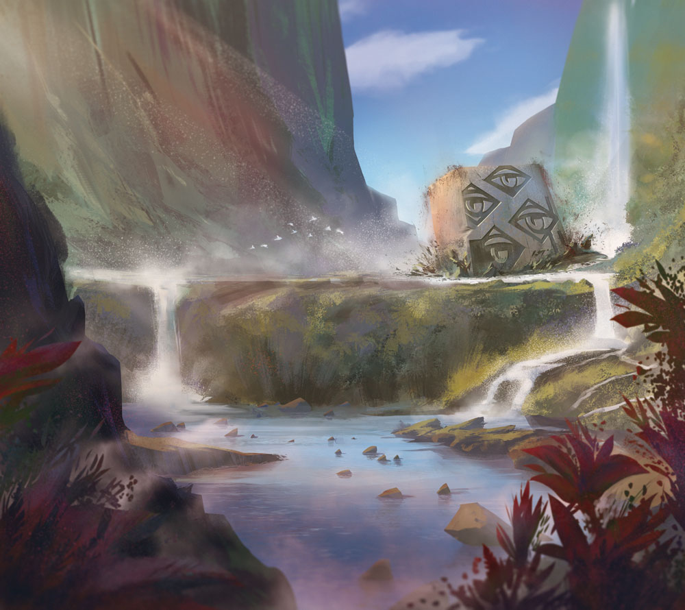 """""""Measure of Patience"""" – beer label fantasy illustration showing emerging Monolith in paradise surrounding by Jakub Cichecki"""