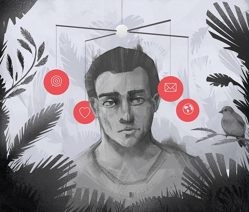 Illustration about mindfullnes showing confused man for Miesięcznik Znak 2 by Jakub Cichecki