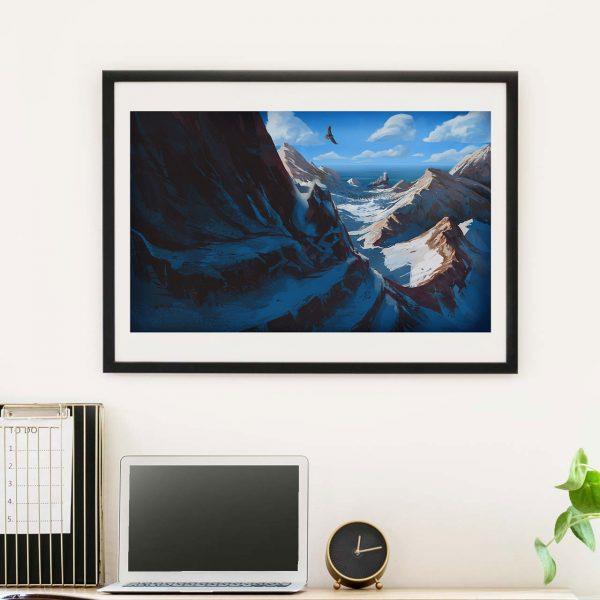 Mountain landscape - Photo of framed illustration print for biblical book of Tobit by Jakub Cichecki