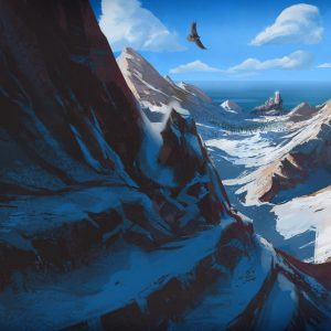 Mountains and sea view - illustration for the Book of Tobit from the Bible by Jakub Cichecki