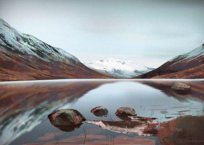 Mountains landscape digital painting by Jakub Cichecki