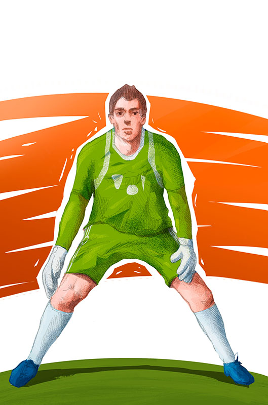 """""""Mundial"""" board game colorful illustration with football goalkeeper by Jakub Cichecki"""