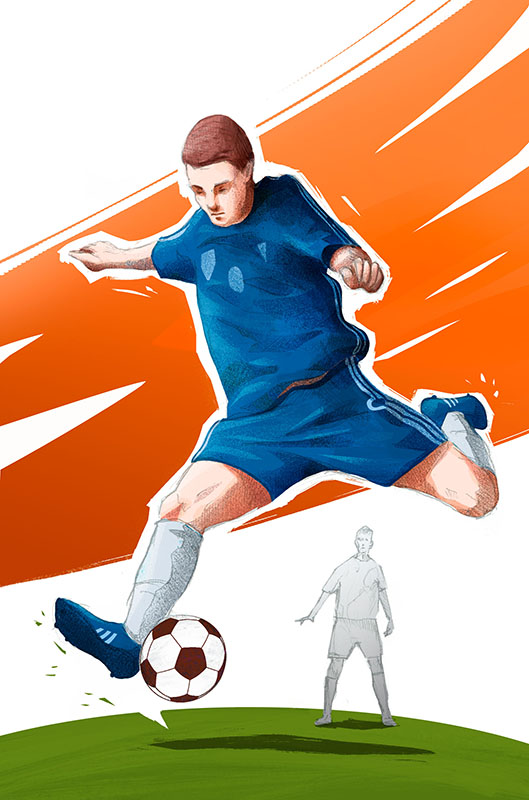 """""""Mundial"""" board game colorful illustration with football player shooting by Jakub Cichecki"""