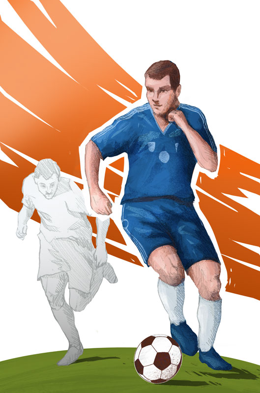 """""""Mundial"""" board game colorful illustration with football player dribbling by Jakub Cichecki"""
