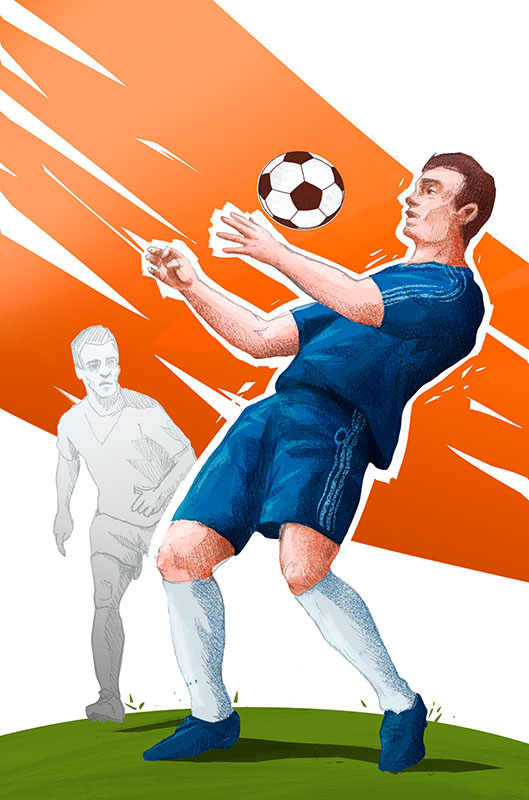 """""""Mundial"""" board game colorful illustration with football player taking the ball on the chest by Jakub Cichecki"""