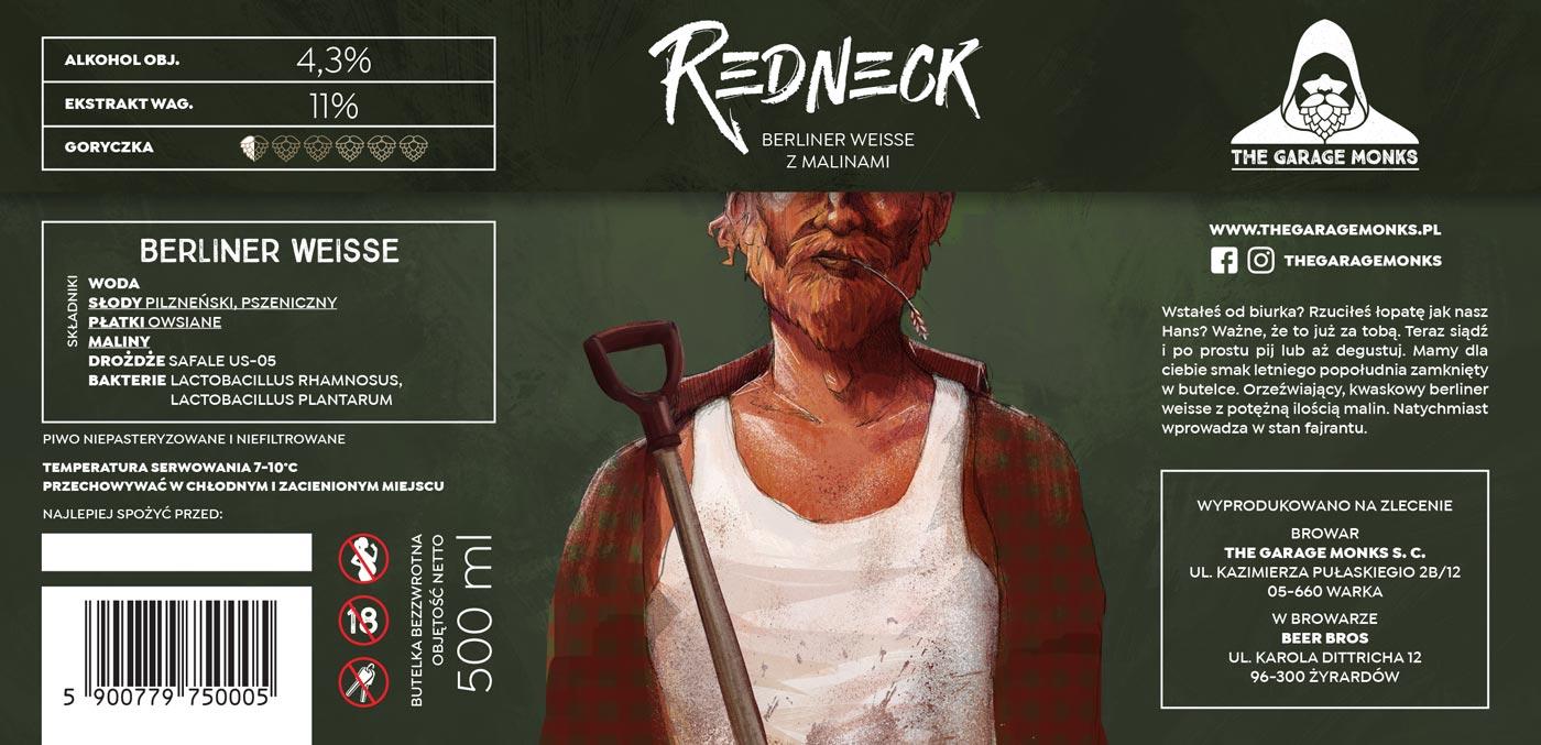 Redneck - beer label design illustration for The Garage Monks brewery by Jakub Cichecki