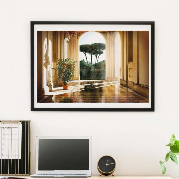Beautiful light and shadow in Rome artwork - photo of framed illustration print by Jakub Cichecki