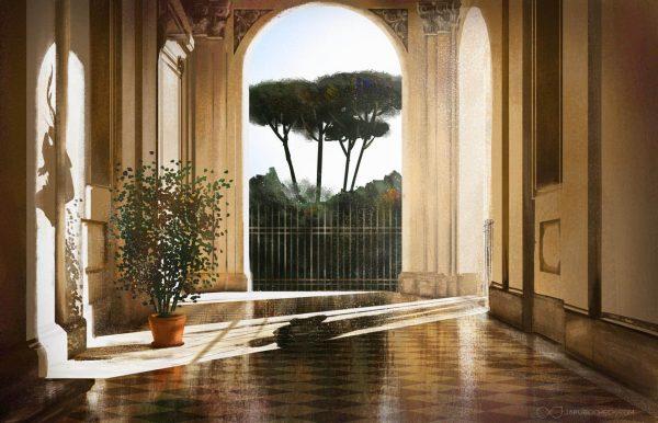 Rome light study illustration by Jakub Cichecki