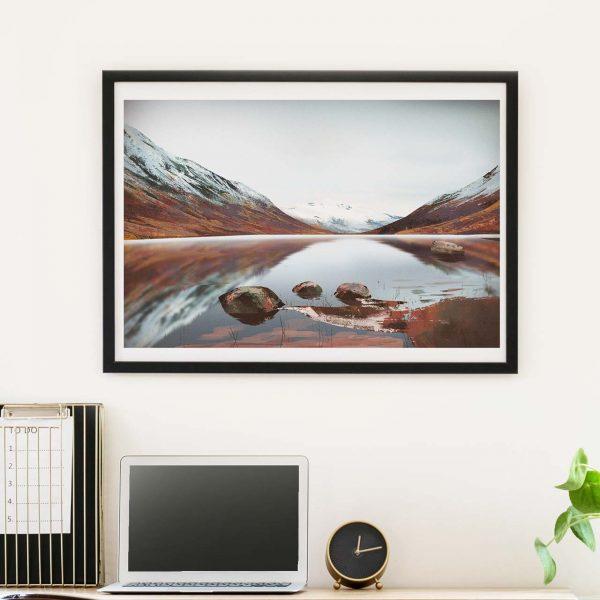 Beautiful mountains scottish landscape - photo of framed illustration print by Jakub Cichecki