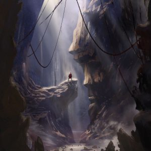 Statues of Destiny - monumental cave with small character standing in front of huge face sculpted in rocks illustration by Jakub Cichecki