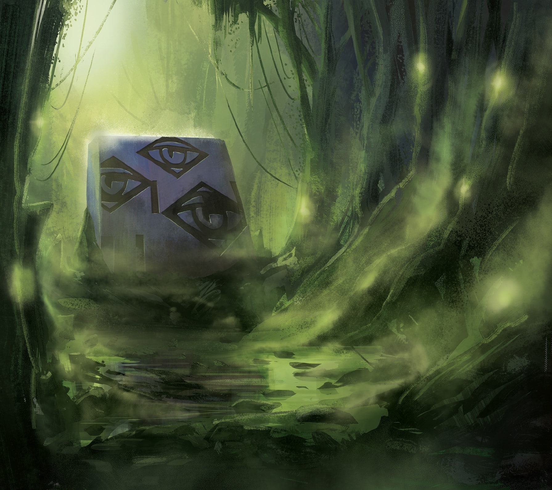 """""""Substantially complete"""" - illustration with emerging Monolith in green toxic environment by Jakub Cichecki"""