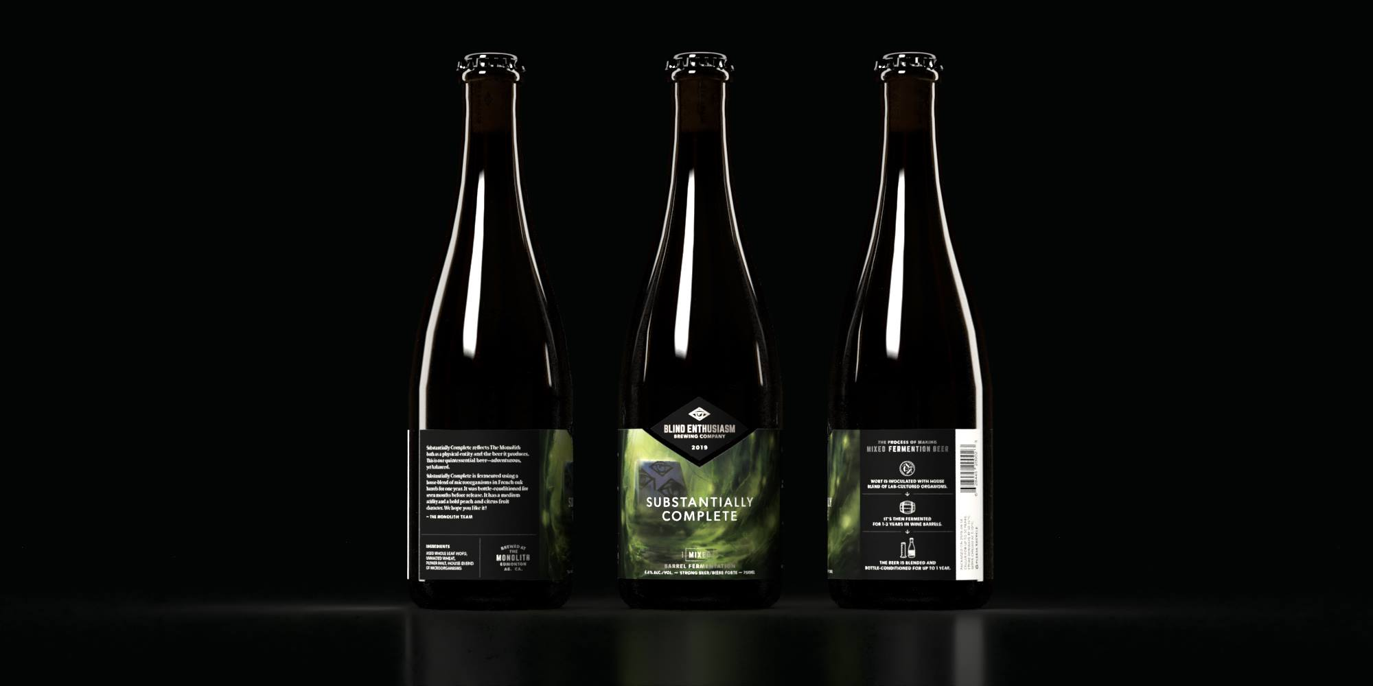 """Beer bottle with toxic green illustrated label of """"Substantially complete"""" beer from different angles by Jakub Cichecki"""
