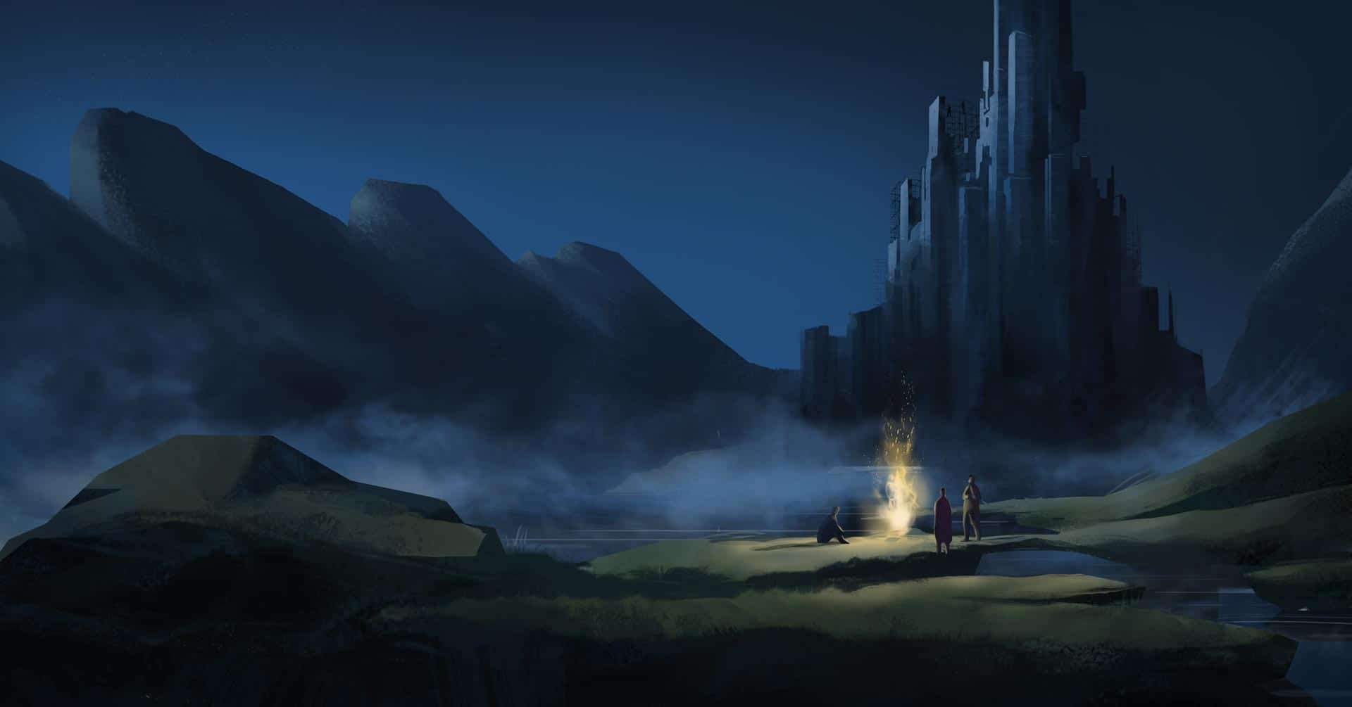 The Embers - epic fortress under construction during at night illustration for Campfire Agency by Jakub Cichecki