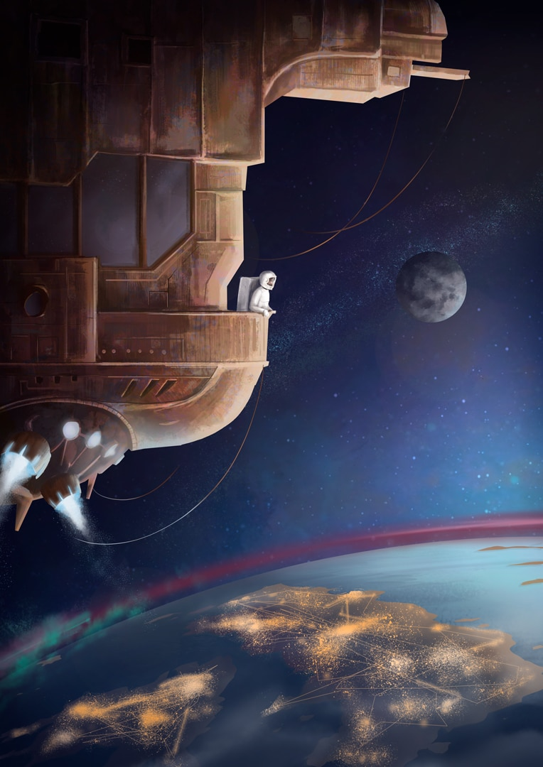 The Embers - astronaut in outer space looking at Earth illustration for Campfire Agency by Jakub Cichecki