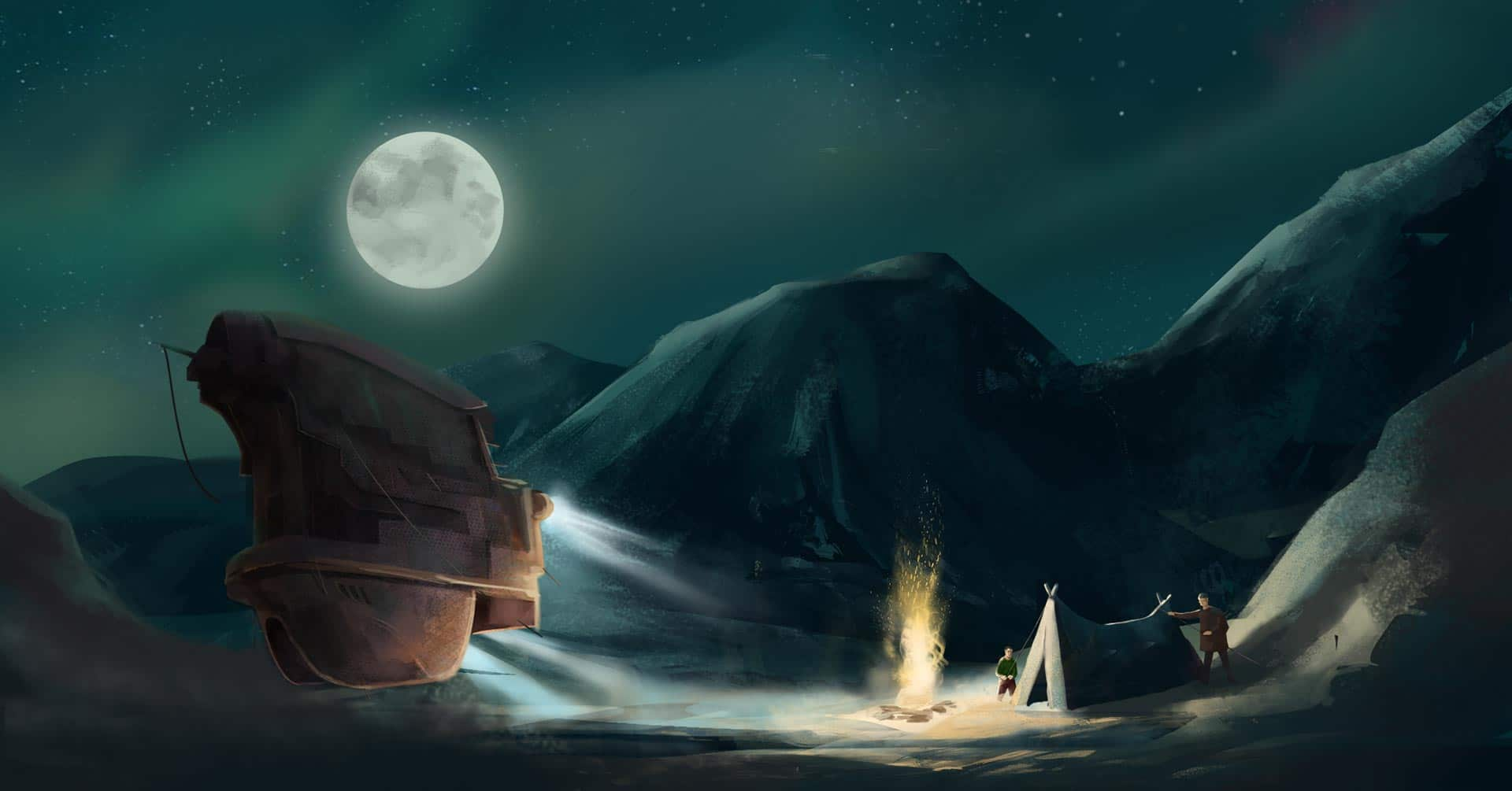 The Embers - Spaceship lighting campfire and resting crew - illustration for Campfire Agency by Jakub Cichecki