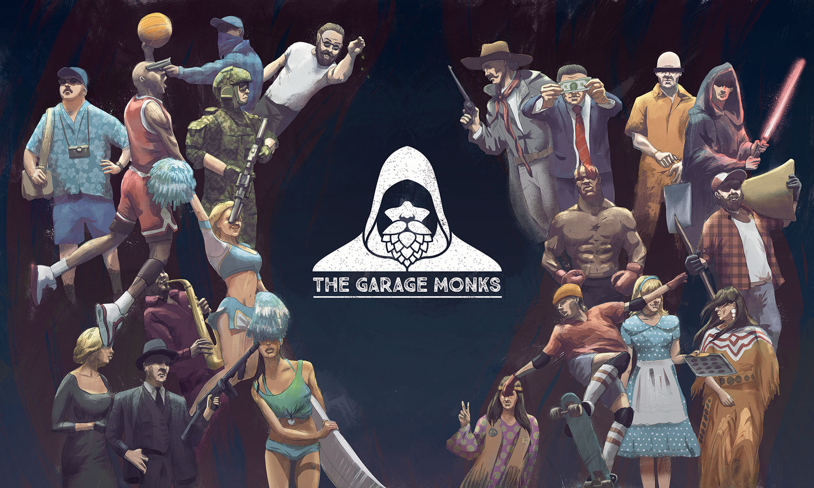 The Garage Monks illustration showing various american popculture rooted characters by Jakub Cichecki