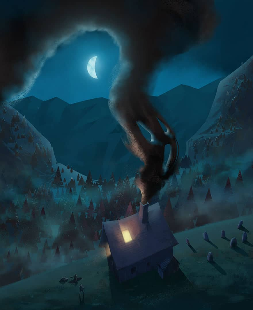 Tobias and Sarah prayer at bride home - night ghost illustration for the Book of Tobit from the Bible by Jakub Cichecki